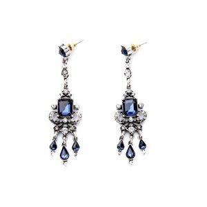 Blue Rhinestone Chandelier Earrings